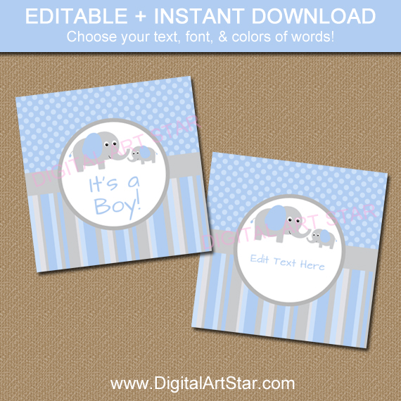Printable elephant baby shower favor tags in blue & grey