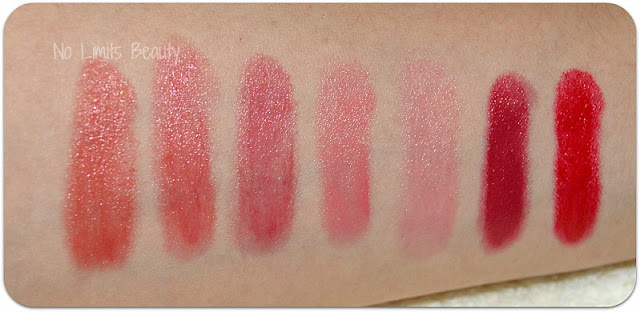 Mis Chubby Sticks de Clinique: swatches. De izq. a der.:  04 mega melon, 05 chunky cherry, 07 super strawberry, 14 curvy candy, 01 poppin' poppy, 06 roomiest rose, 03 mightiest maraschino.