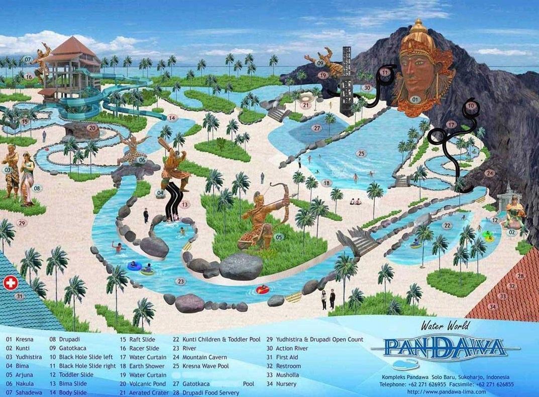 Denah Lokasi Wahana Pandawa Water World Solo
