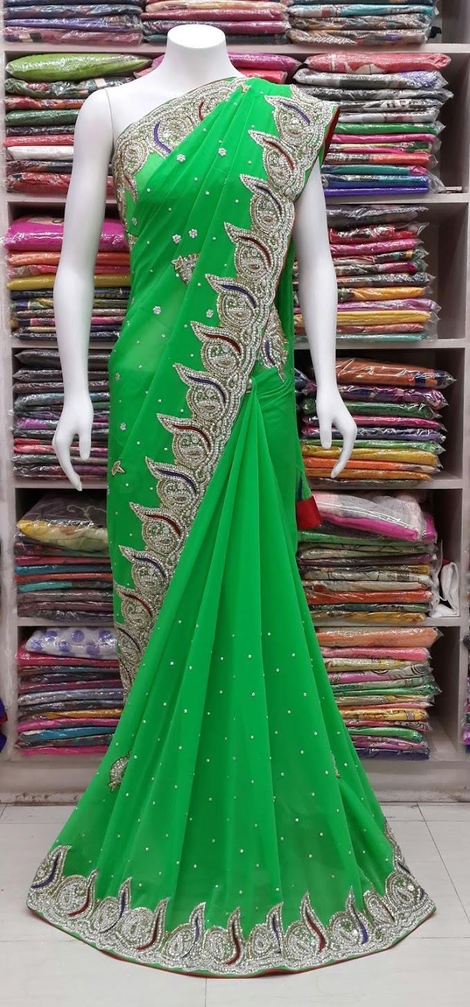 Green Saree Hand Work kat dana moti work fabric georgett beautiful party wear saree sharmili saree