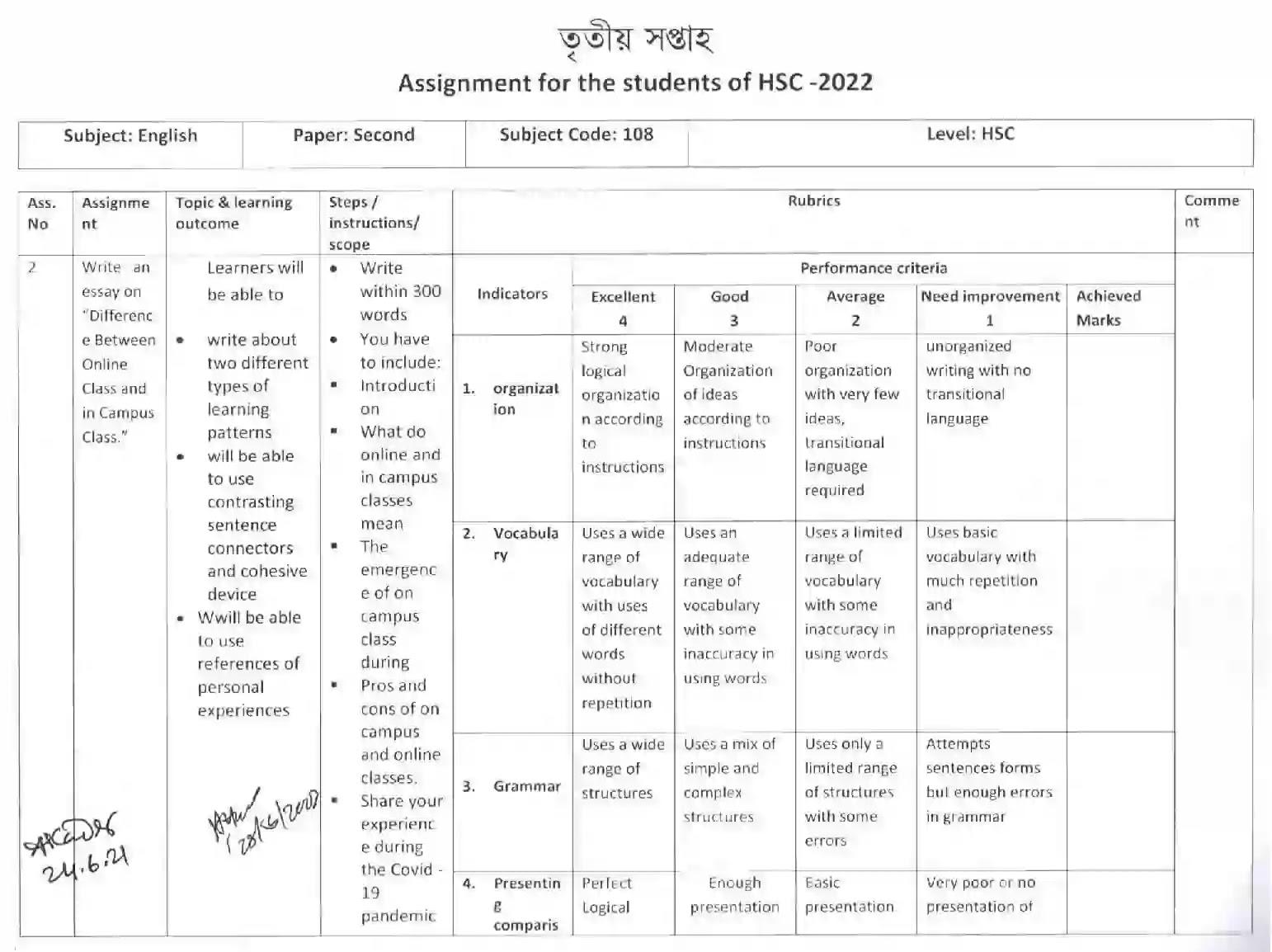 English HSC Assignment 3rd Week Answer