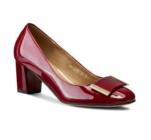 Pantofi SAGAN din piele lacuita naturala eleganti de zi cu toc gros