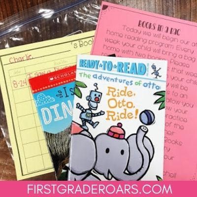 This book in a bag program allows you to get books that are just right for students in their homes. This will help build fluency and practice reading at home. Don't forget to grab a few freebies too! #bookinabag #fluencypractice #firstgraderoars