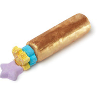 A cylindrical bright shimmery gold log with a circular gold and blue product next to it on a bright background