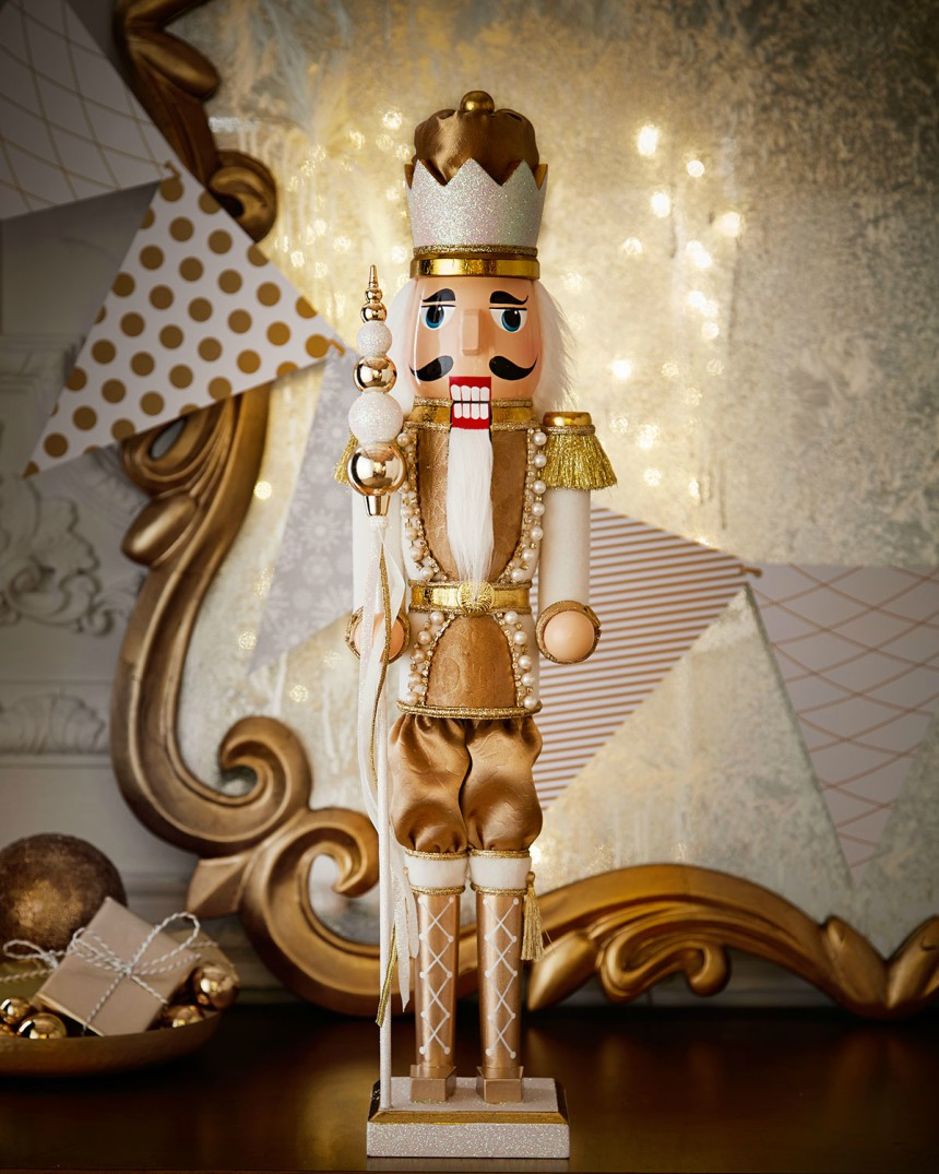Horchow Winter White and Gold Nutcracker