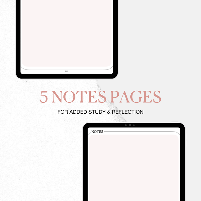 5 notes pages for added study and reflection.