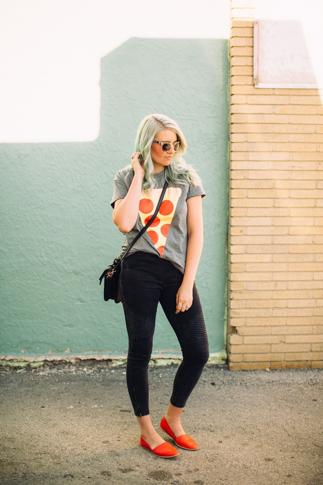Pizza Shirt, Utah Fashion Blogger, Moto Leggings