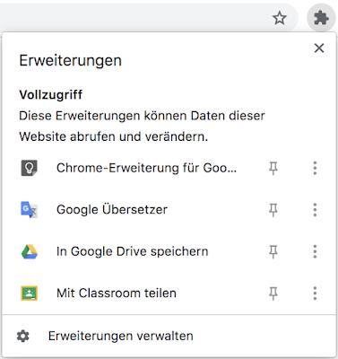 Screenshot der Einstellungsmöglichkeiten in Chrome