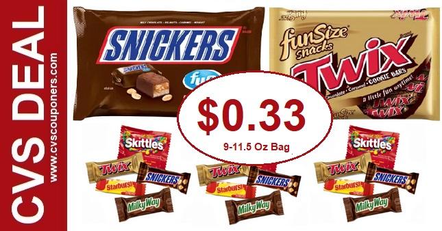 Mars Fun Size Candy CVS Deal $0.33 - 9/22-9/28