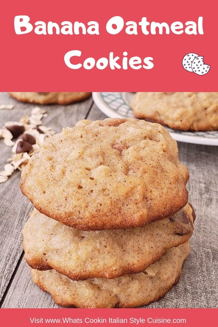 these are oatmeal cookies made with banana, there are chocolate chips added with pecans and on a dish in the photo and on top of a grey piece of wood