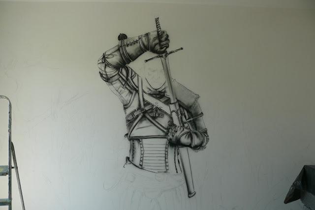 szkicowanie wiedźmina na ścianie, mural 3D, malowanie wiedźmina krok po kroku