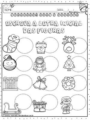 Atividades para 1º ano, Natal, Atividades de alfabetização, Atividades de Matemática, Letra inicial,