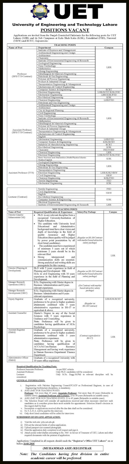 Jobs in University of Engineering & Technology Lahore
