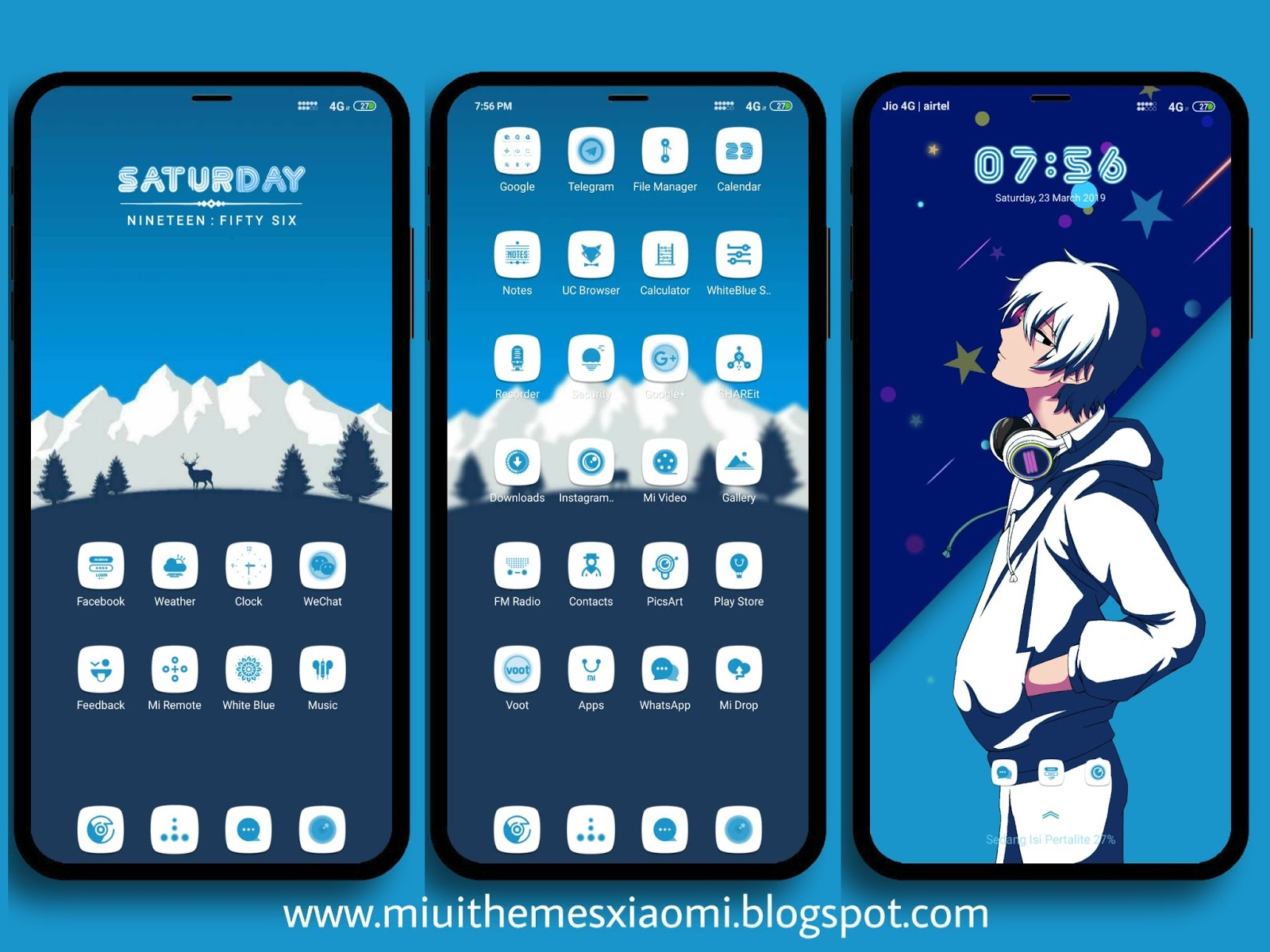 White Blue V10 MIUI Theme Download For Xiaomi Mobile || MIUI Themes