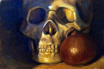 Oil painting of an off-white plastic skull beside a brown onion.