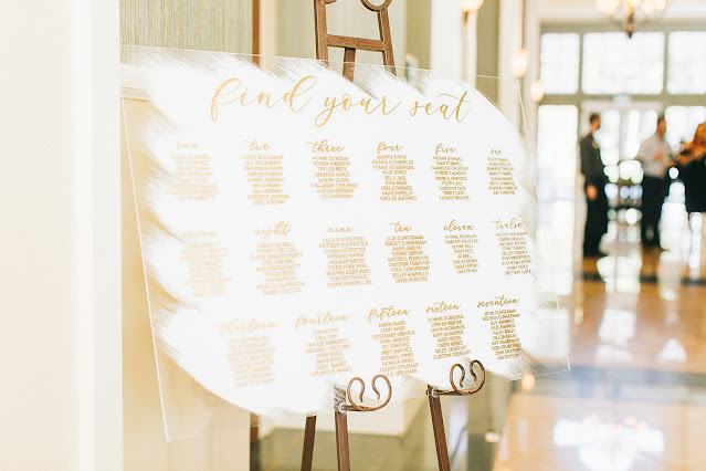 white and gold seating chart