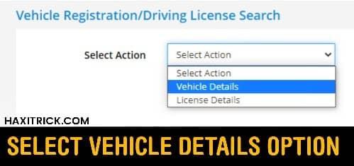 Select Vehicle Details Option