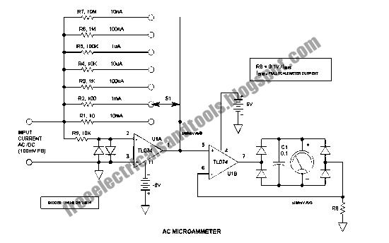 Free Schematic Diagram: AC-DC Microammeter Circuit