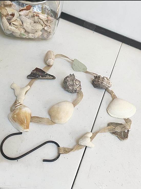 shell garland on an S hook