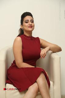 Telugu Tollywood Anchor Manjusha Pos in Red Short Dress  0053.JPG
