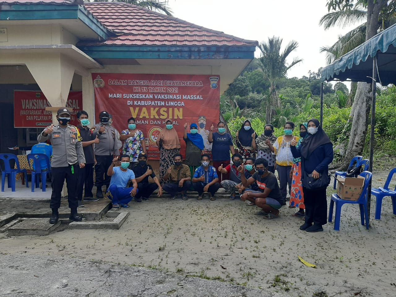 HUT Bhayangkara ke 75, Polres Lingga Gelar Vaksinasi Serentak