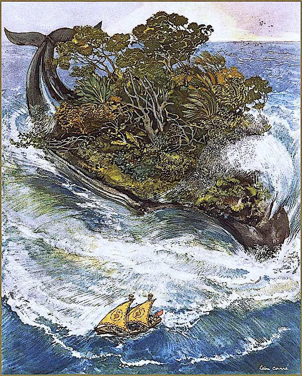 Léon Carré, a half-whale half-island
