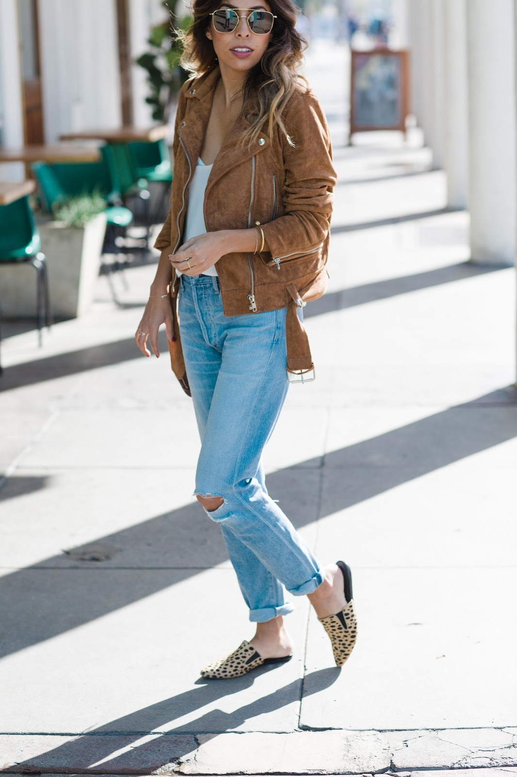 how to style boyfriend jeans, suede moto jacket, casual weekend outfit, pursuit of shoes