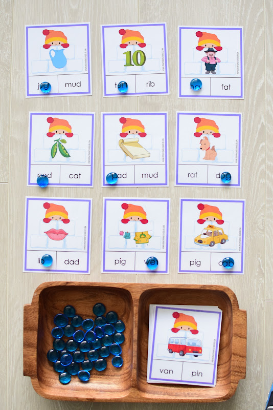 Winter Theme Learning Pack: CVC Word Clipcards