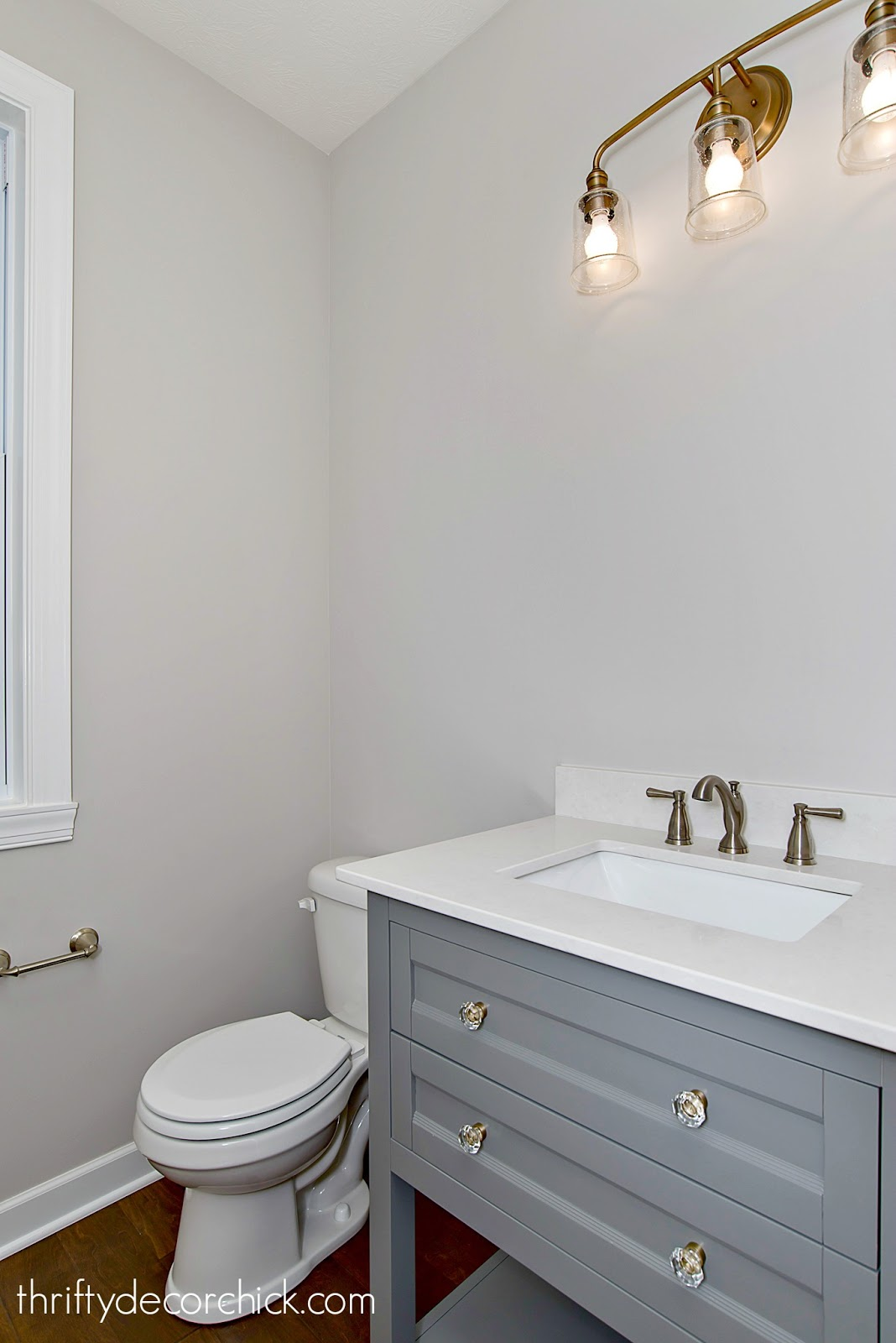 Light gray vanity powder room