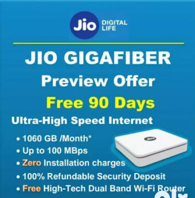 Apply Jio Giga Fiber Broadband wifi/Full Detail Price and Plans!  The price of Jio GigaFiber plan will start from Rs 700 to Rs 10,000 per month, which means it is designed for every budget and every segment. Mukesh Ambani also revealed that Jio Fiber will always be able to make free calls from home to any Indian operator (mobile or fixed). Jio GigaFiber plans will go from 100 MB per second to 1 GB per second.