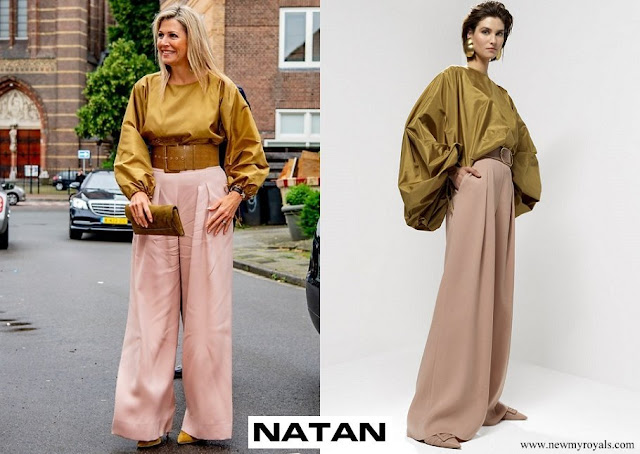 Queen Maxima wore Natan Gianni oversized top Gilson wide silk crepe trousers