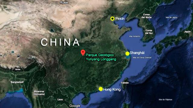 mapa de china ubicando el parque ecológico yunyang longgang