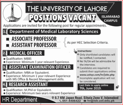 Advertisement of The University of Lahore Jobs