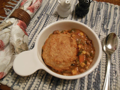 Easy and delicious, baked soup and biscuits, dinner is served!