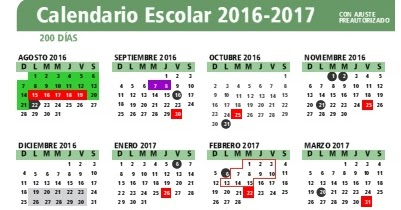 Zona 50 Telesecundarias: Calendario Escolar 2016-2017