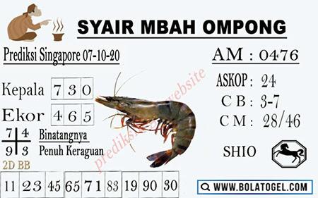 Syair Mbah Ompong SGP Rabu 07 Oktober 2020