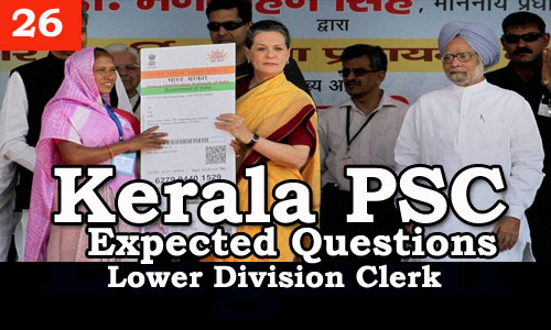 Kerala PSC - Expected/Model Questions for LD Clerk - 26