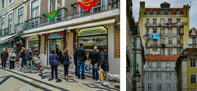 Lisboa: Confeitaria na Rua Augusta e Elevador do Castelo