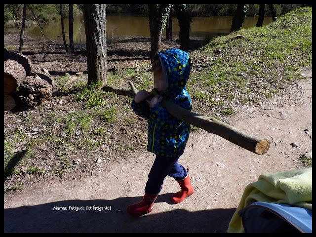 enfant ramasse bois