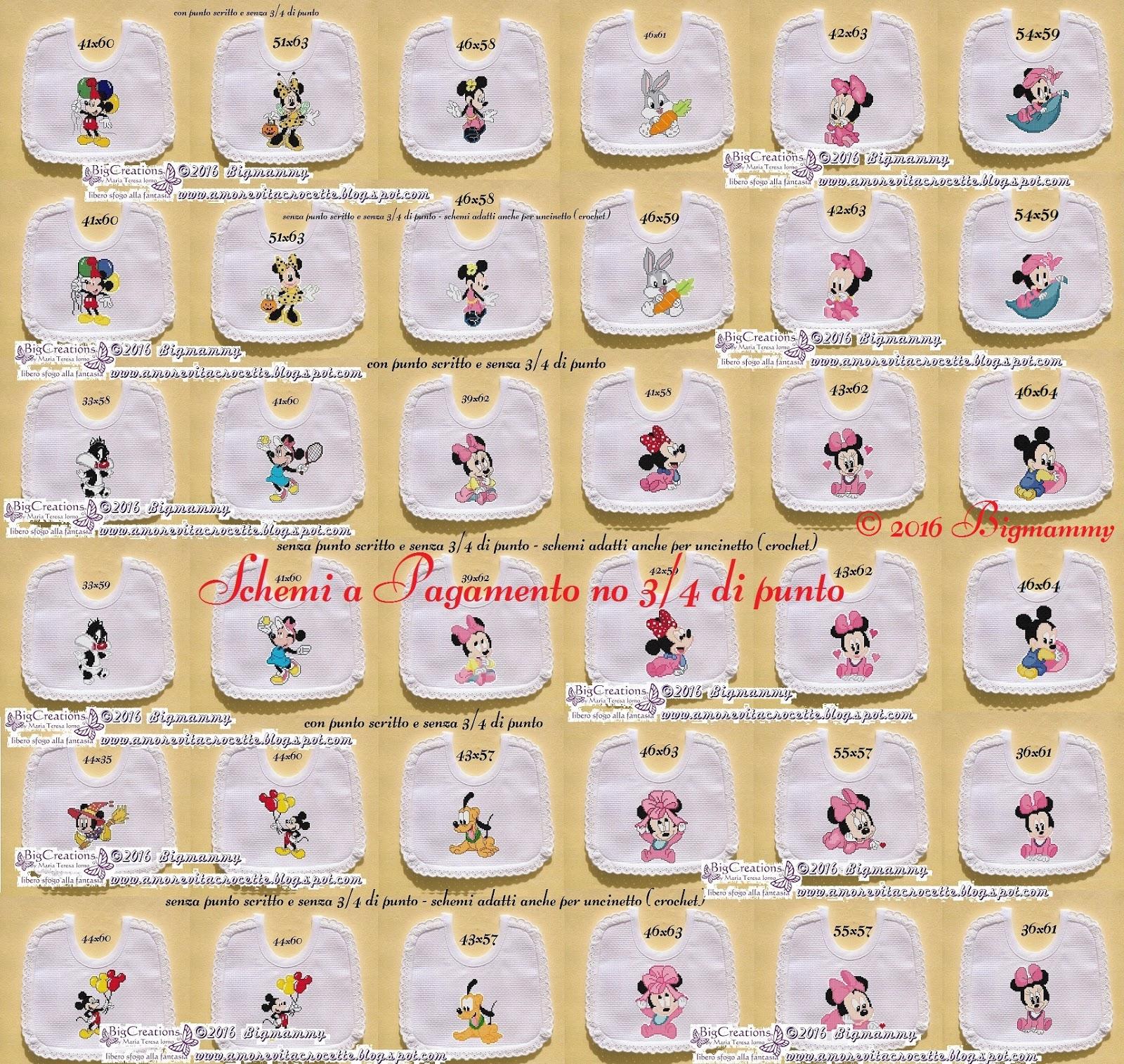 Amorevitacrocette bavaglini disney a punto croce e crochet for Schemi gratis punto croce disney