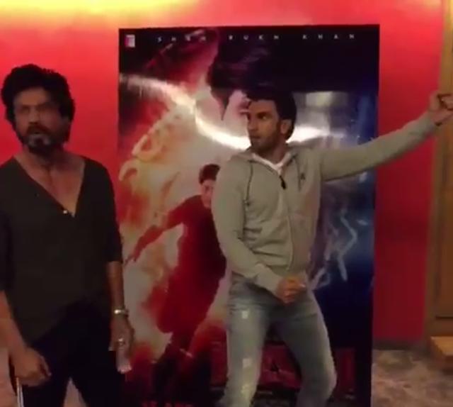 Ranveer Singh and Shah Rukh Khan on jabra fan.