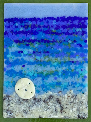 Fused Glass Beach Ocean Sea Painting Pointillism Dots Sharon Warren Glass sharonwarrenglass flutterbybutterfly finished