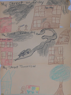 "A child's illustration depicting ""My street on Friday,"" ""My street yesterday,"" and ""My street tomorrow."""