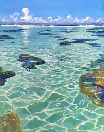 Gambar sketsa pemandangan bawah laut