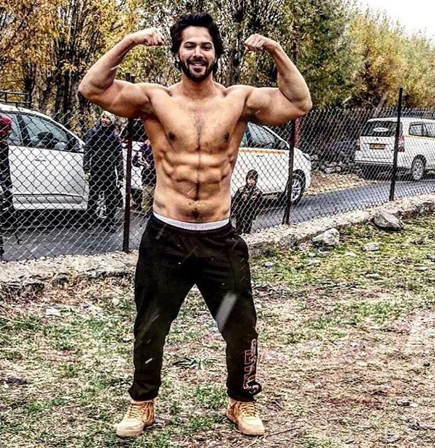 Varun Dhawan shows off his six packs in Kargil at minus ...