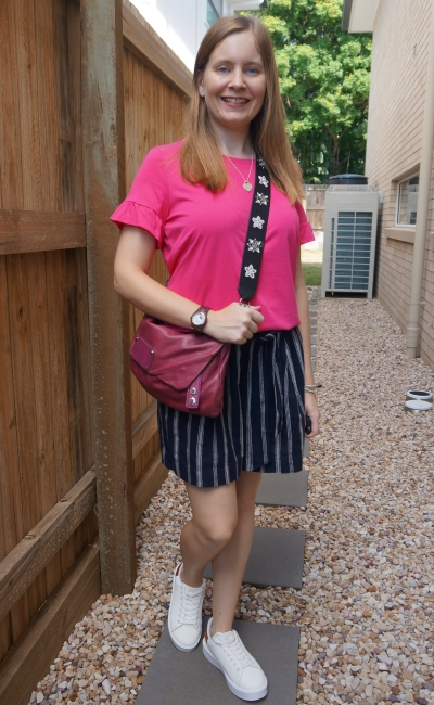bright pink frill sleeve tee with navy stripe culotte shorts and chunky sneakers crossbody MbMJ bag | awayfromblue
