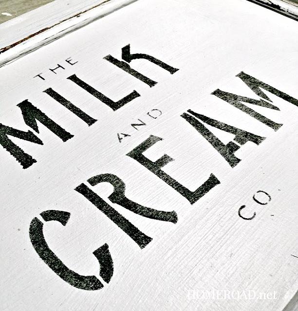 Milk and cream stenciled cabinet