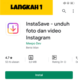 Cara mudah  download foto/gambar video Instagram di hape