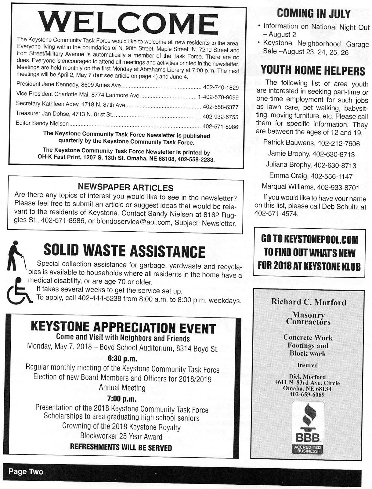 keystone neighborhood newsletter