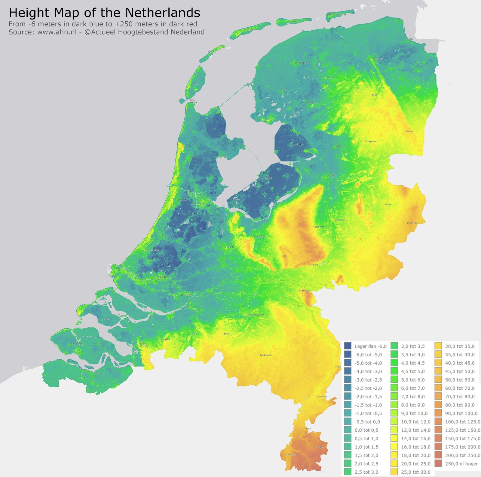 Height map of the Netherland